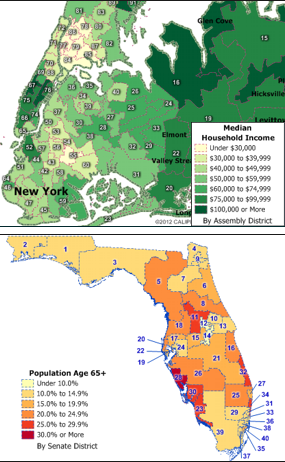 New York Assembly Districts and Florida Senate Districts maps